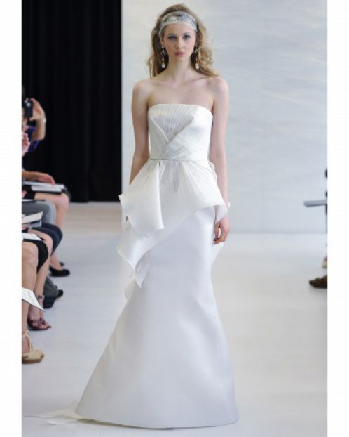 wedding dress with asymetrical peplum, Spring 2013 - Angel Sanchez